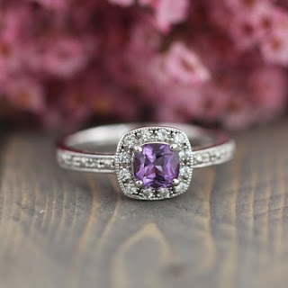 amethyst square engagement ring
