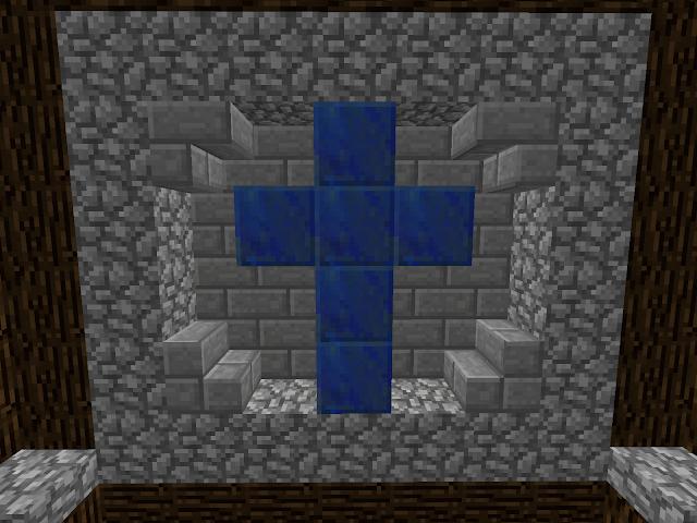 Afbeelding van een kruis in de Sint-Maartenwereld in Minecraft