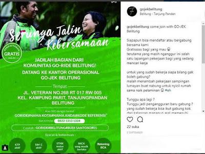 informasi pendaftaran Go-Jek di Belitung