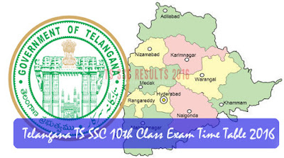 Telangana TS SSC 10th Class Exam Time Table 2016