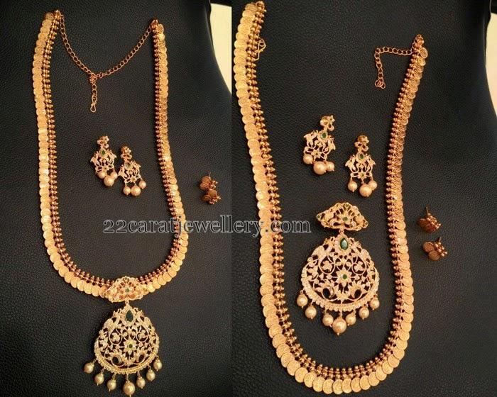 One Gram Gold 3 In 1 Kasu Mala Jewellery Designs