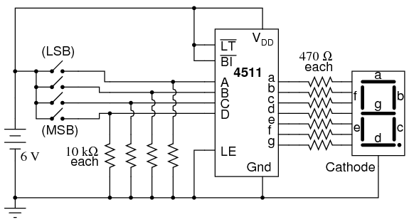 seven segment display circuit diagram