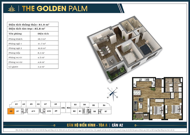 Căn A2 - 81m - The Golden Palm