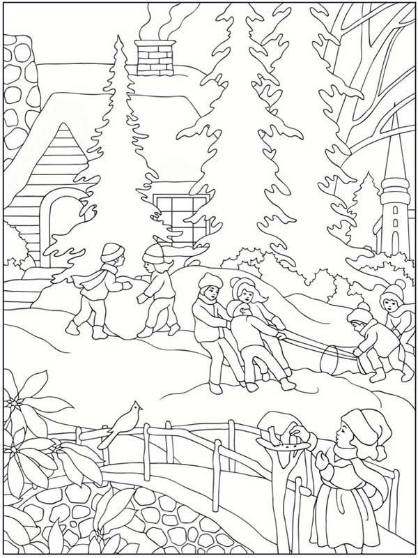 winter scene coloring pages printable - 5 free winter scenes coloring pages realistic coloring pages