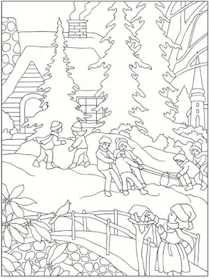 playing in winter printable kids coloring pages