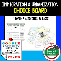 American History Digital Learning, American History Google, American History Choice Boards, Immigration and Urbanization