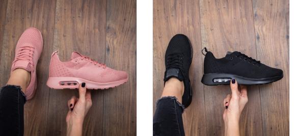 Pantofi sport din panza negri, roz, rosii cu talpa de din spuma