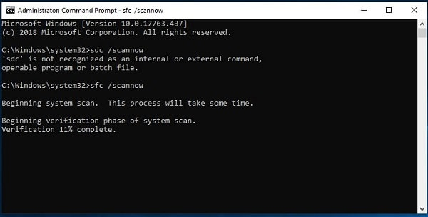 Common Prompt Window running SFC Scan