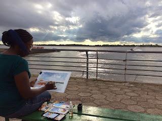 Sandra Nunes sketching in ´Porto Alegre
