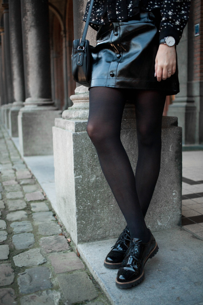 patent leather skirt, patent brogues