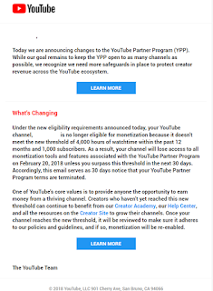 YouTube Partner Program New Rules | 4000 hours views, 1000 subs, 30 days