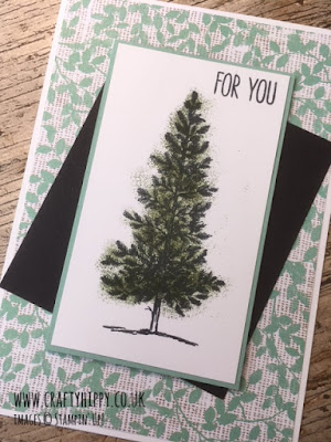 This picture shows a handmade greetings card with the sentiment 'For You' and a tree, made with the Lovely As A Tree stamp set and Mossy Meadow ink, both by Stampin' Up!