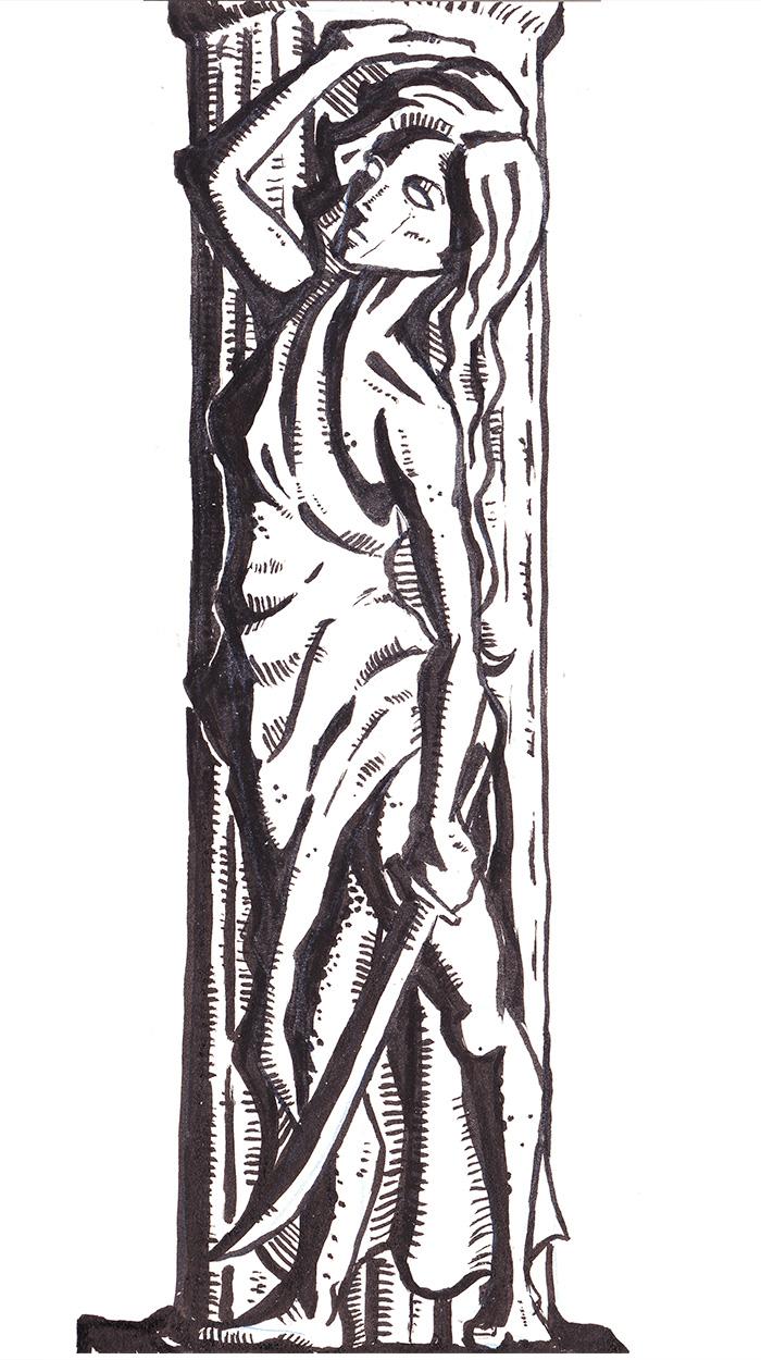 Inktober Monstrosities: C for Caryatid Column
