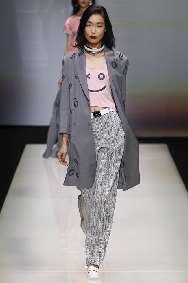 2016 SS Emporio Armani Smiley Face Cotton Shirt