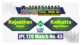 IPL 2019 43rd Match Prediction Tips by Experts KKR vs RR