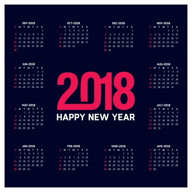 Dark calendar template for 2018 Free Vector