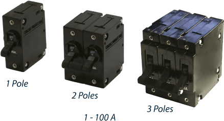 Circuit Breakers of differents poles.