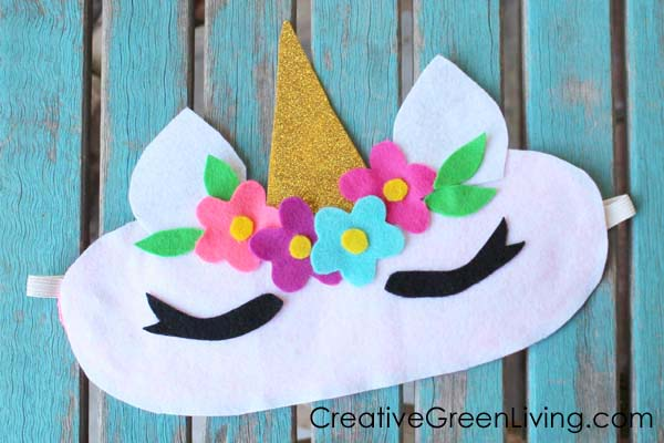 Tutorial for how to make a unicorn horn sleeping face mask with free printable pattern template