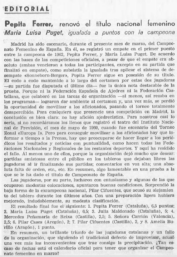 VIII Campeonato Femenino de Ajedrez de España, recorte de El Ajedrez Español nº 94, 31/3/1964