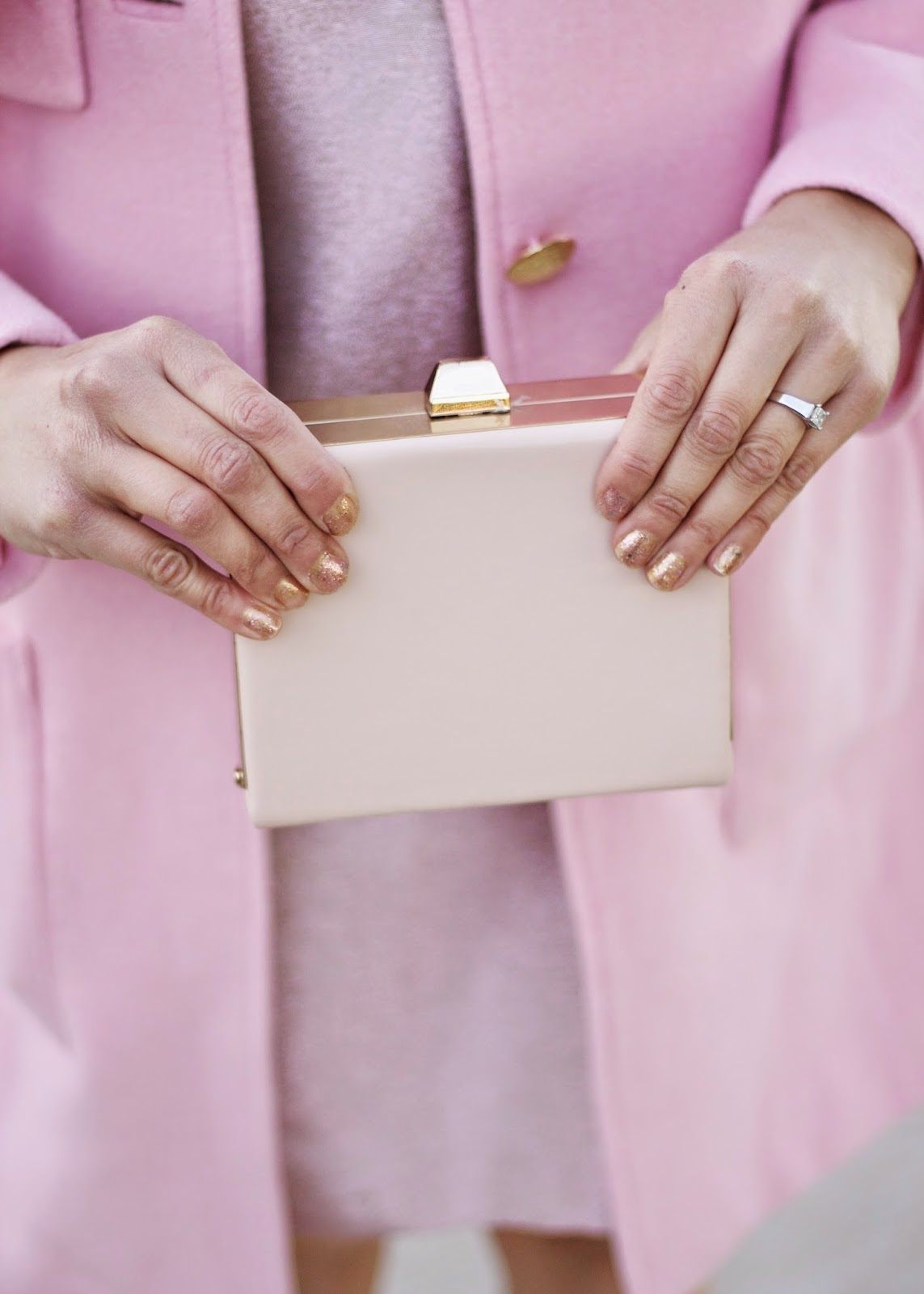 nude clutch, nude gold and pink, blush outfit, monochromatic pink outfit