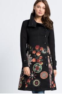 Desigual - Palton dama de firma de iarna negru cu imprimeuri
