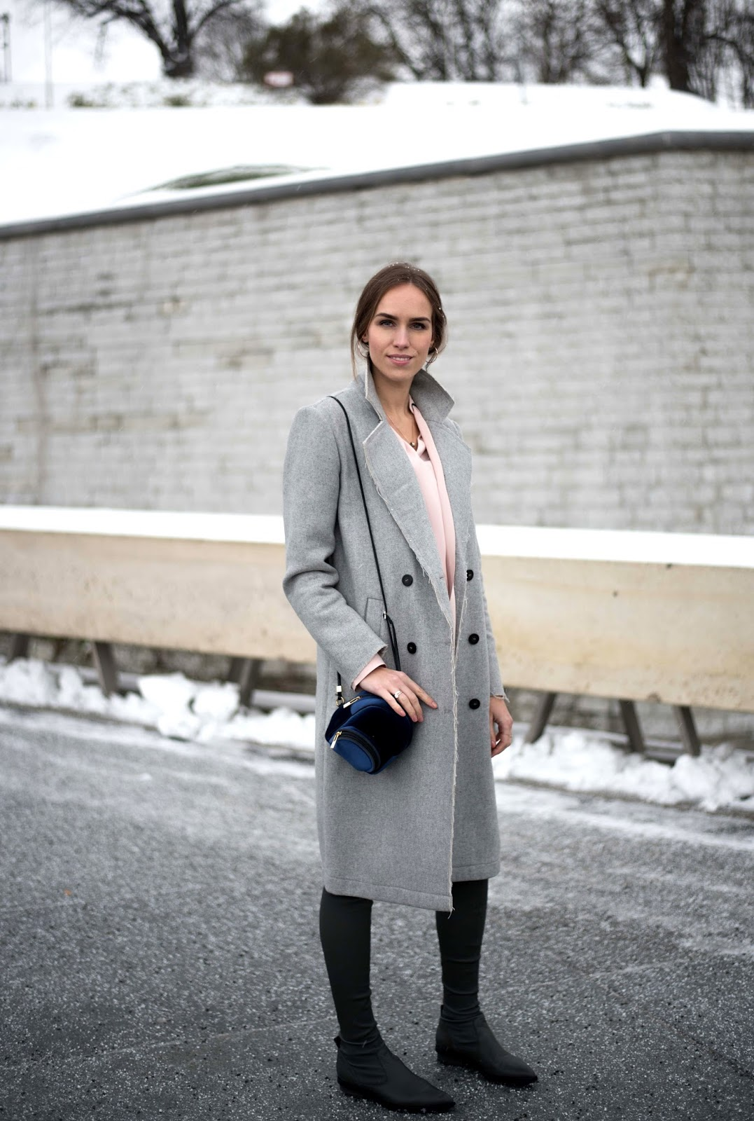 grey coat over knee leather boots winter outfit