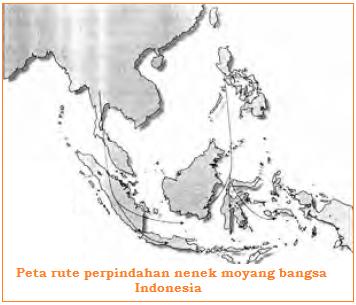 Peta Persebaran Nenek Moyang Bangsa Indonesia