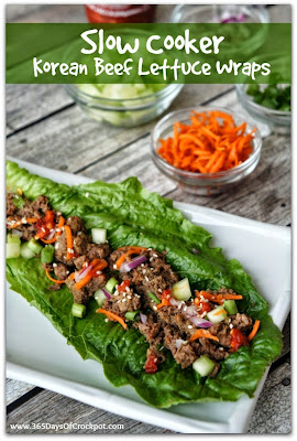The BEST Slow Cooker Lettuce Wraps with Beef, Chicken, Pork, or Turkey featured on SlowCookerFromScratch.com