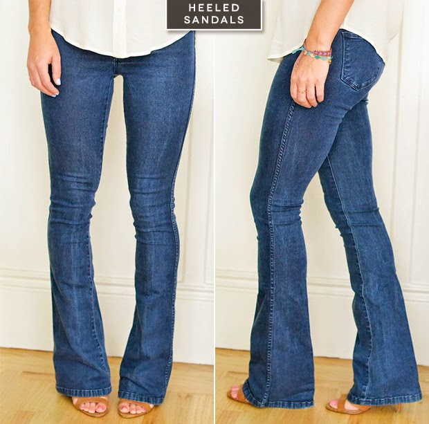 what kind of shoes to wear with flare jeans