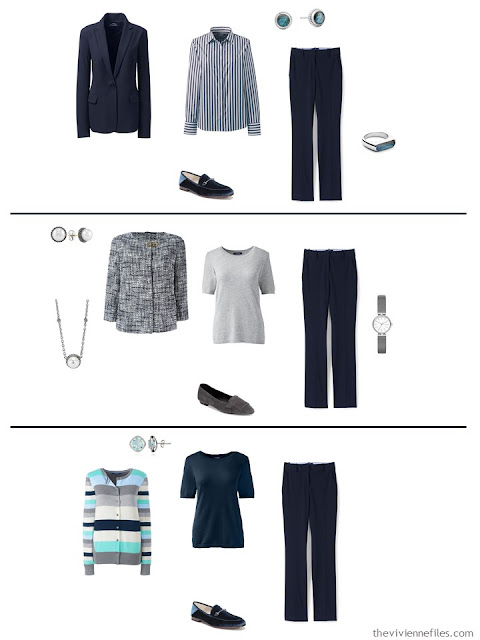 three ways to wear navy pants in a work capsule wardrobe