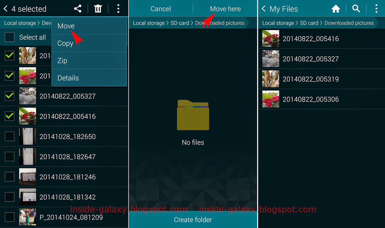 • free up space by moving your files (documents, downloads, photos, videos and other) to sd card. Inside Galaxy: Samsung Galaxy S5: How to Transfer Pictures to SD Card in Android 4.4.2 Kitkat