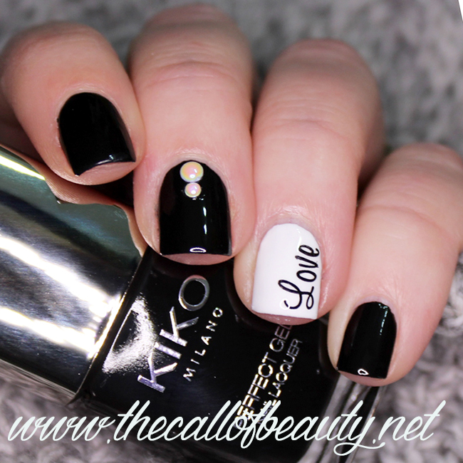Black and White Valentine's Manicure