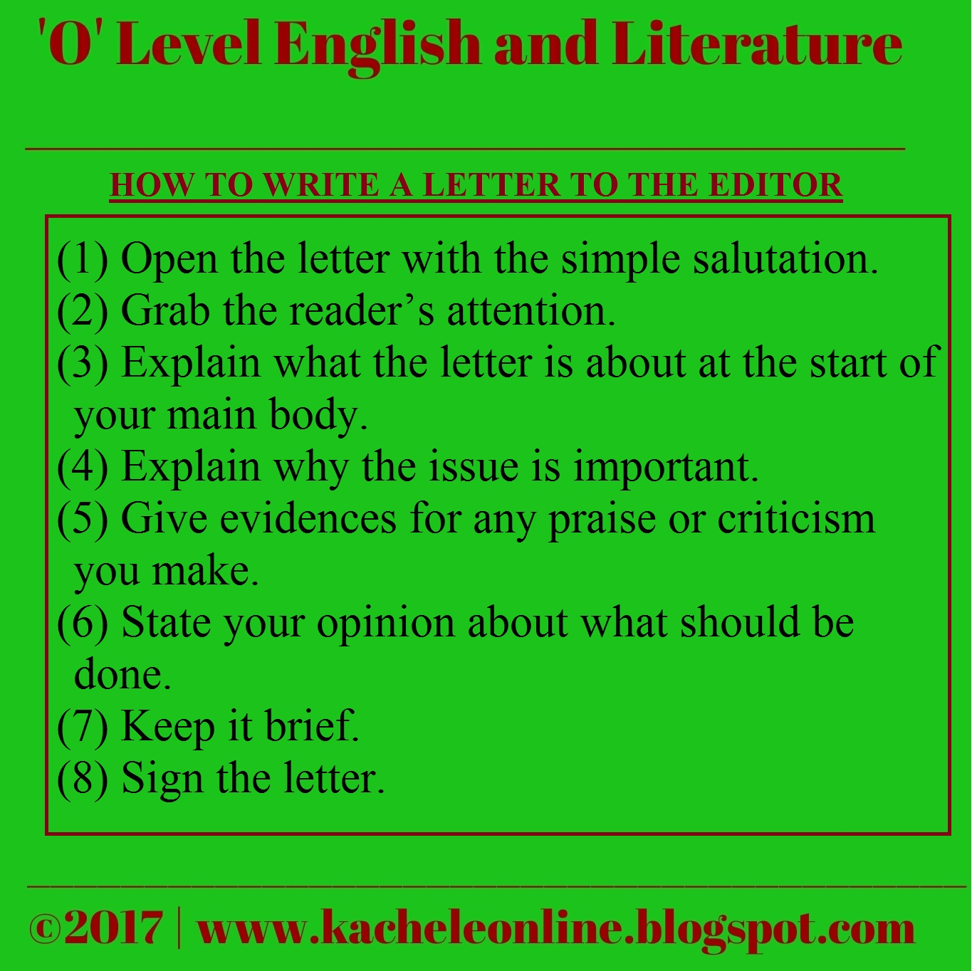 O Level English Blog The Best Notes On Teaching Writing Letters