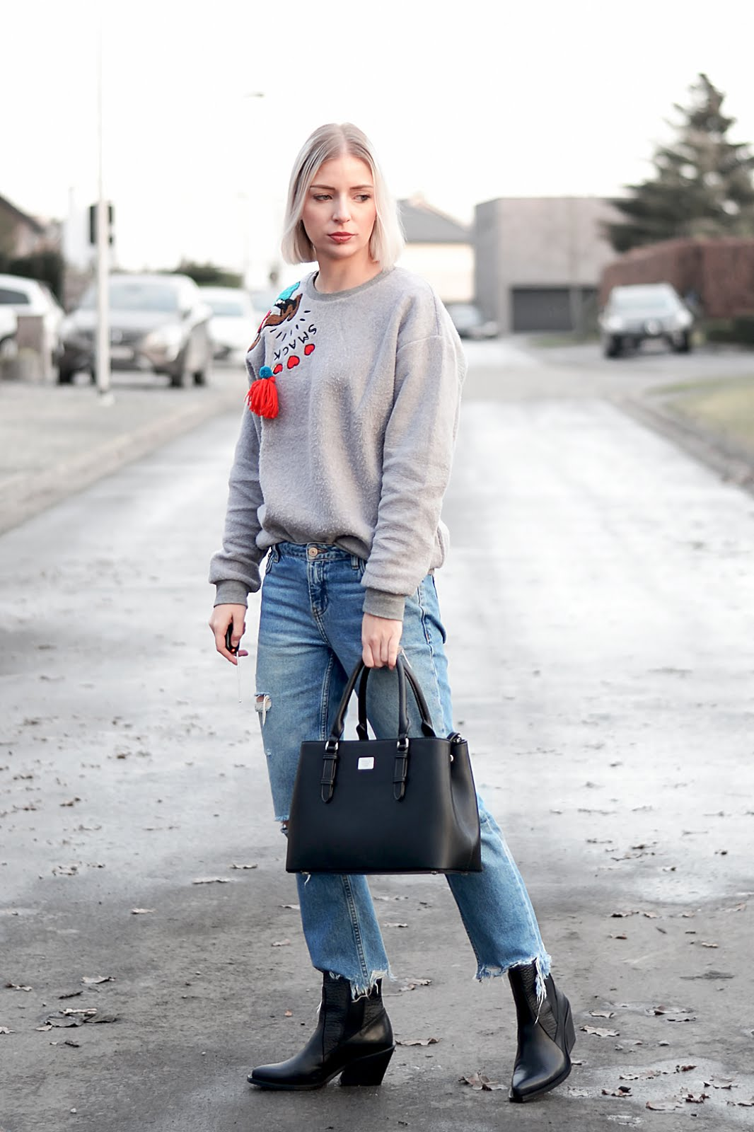 Beauty & bobs sweater, mickey mouse, marc b bag, bald. boots, mango ripped jeans