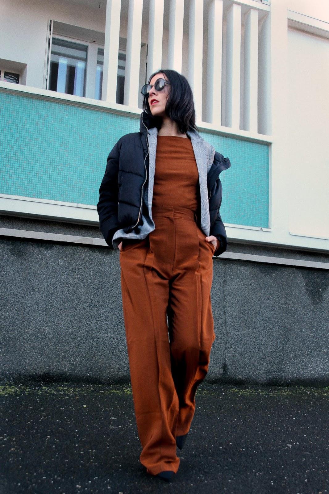 idée de look camel blazer carreaux pantalon loose printemps hiver 2018
