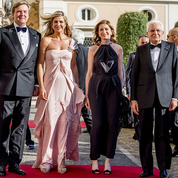 King Willem-Alexander, Queen Maxima, Princess Christina, Prince Jaime, Princess Viktoria de Bourbon de Parme, President Mr. Sergio Mattarella and Mrs Laura Mattarella