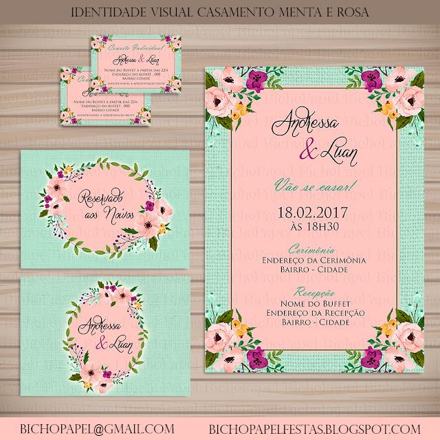 Identidade Visual Casamento Menta e Rosa