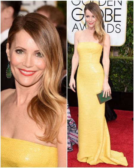 Leslie Mann's look at the Golden Globes 2015