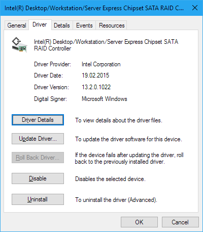 Intel Rapid Storage Technology (iRST) driver for Windows 10