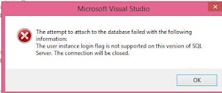 The attempt to attach to the database failed with the following information: A network-related or instance-specific error occurred while establishing a connection  to SQL Server. The server was not found or was not accessible. Verify that the instance  name is correct and that SQL Server is configured to allow remote connections.  (provider: SQL Network Interfaces, error: 50 - Local Database Runtime error occurred.  Cannot create an automatic instance. See the Windows Application event log for error details. )