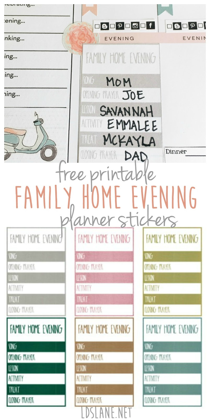 Free Printable Family Home Evening planner stickers at LDSLane.net