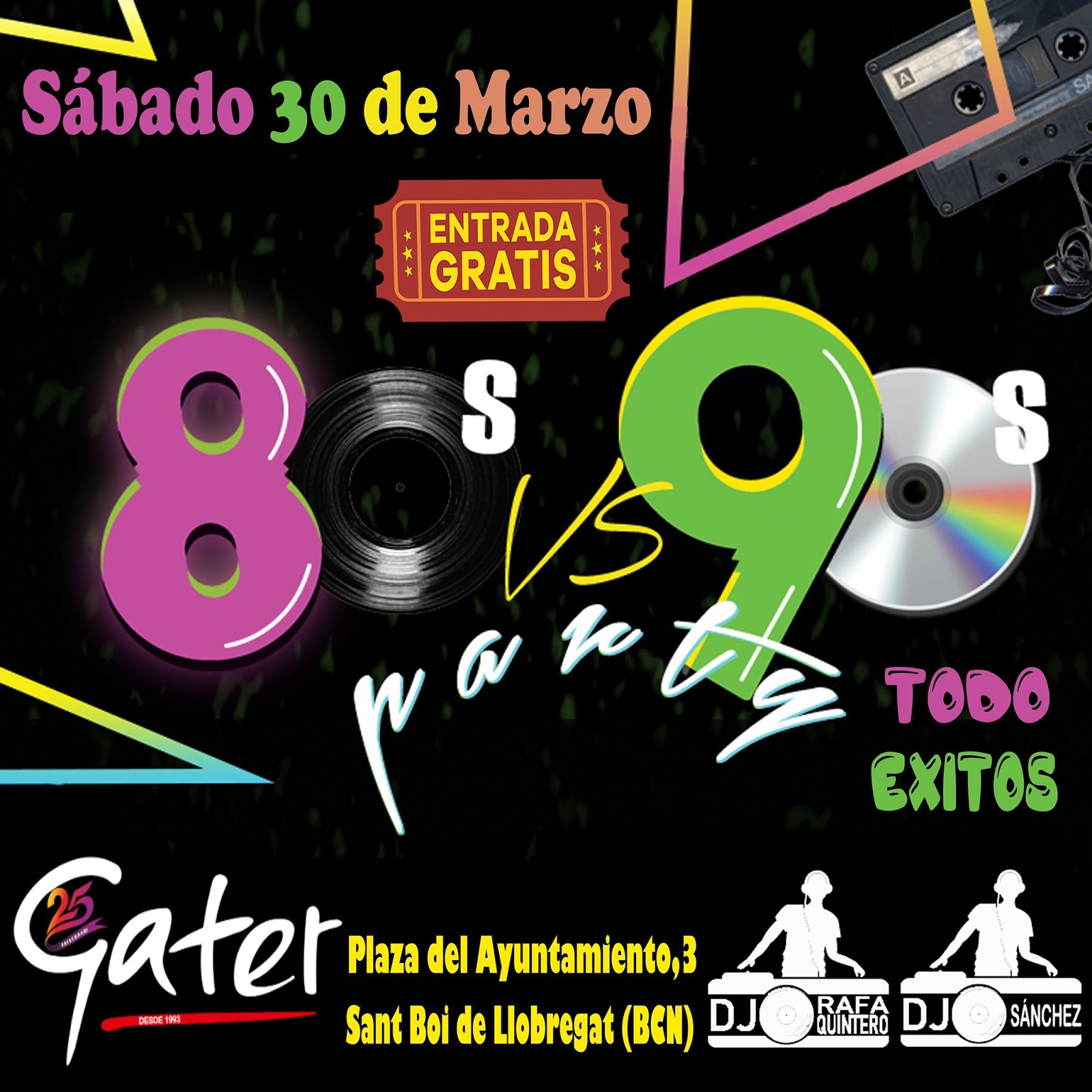 Flyer 80s vs 90s todo éxitos party