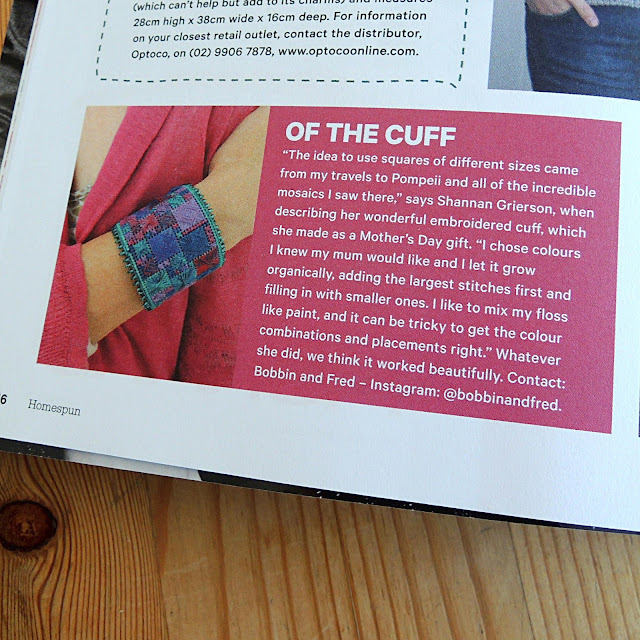 Embroidered Cuff magazine feature for Bobbin and Fred