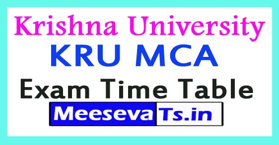 Krishna University KRU MCA Exam Time Table 2017