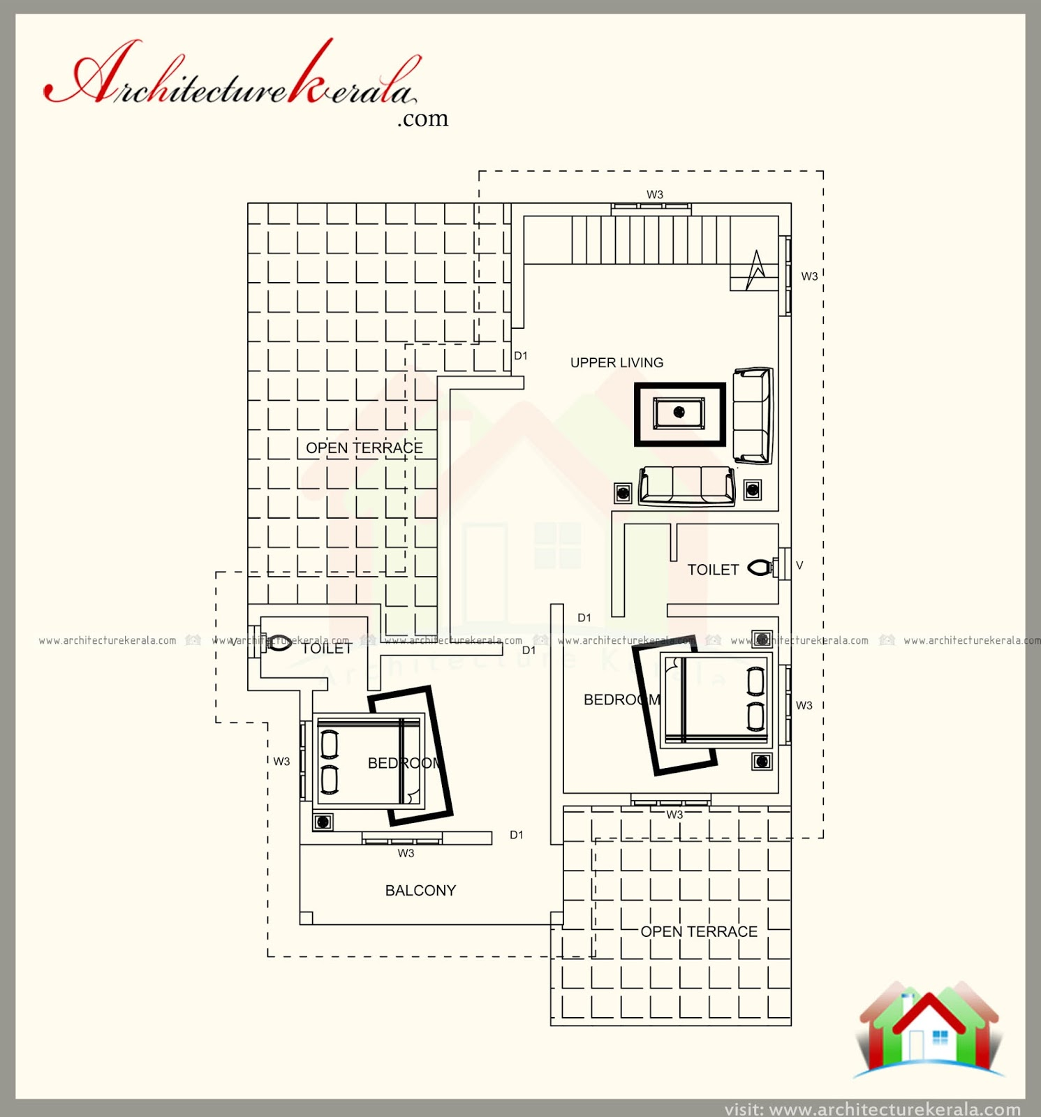 2500 sq ft house plan with three different elevations for 2500 sq ft house plans in kerala