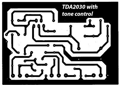 Skema rangkaian Amplifier TDA2030 dengan Pengatur Nada