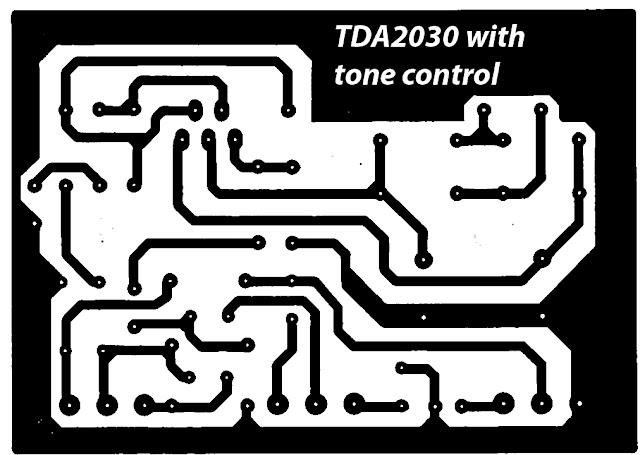 PCB design TDA2030 complete tone control