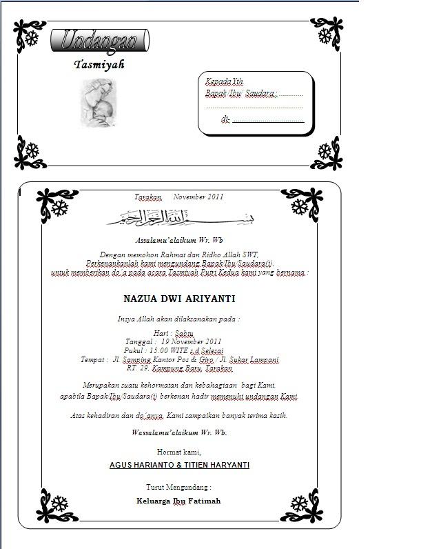 Download Contoh Undangan Aqiqah Word