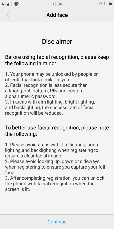 Vivo V7+ Facial Recognition