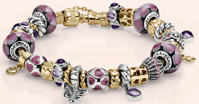 Pandora bracelet - gold and purple